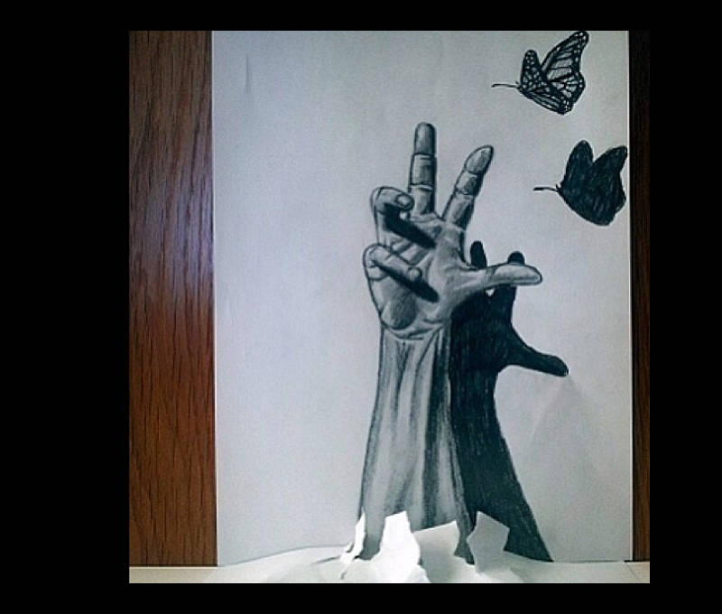 Drawn optical illusion sketch Optical Optical Templates Butterfly Examples