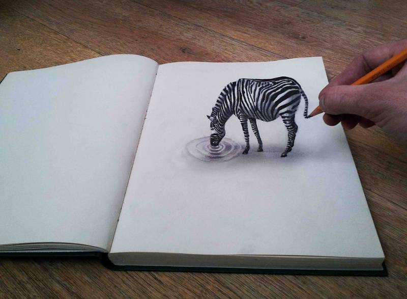 Drawn optical illusion sketch Optical Optical Templates Zebra Examples