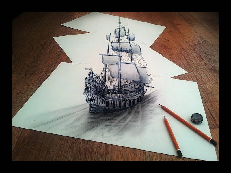 Drawn optical illusion sketch Templates 3D Examples & of