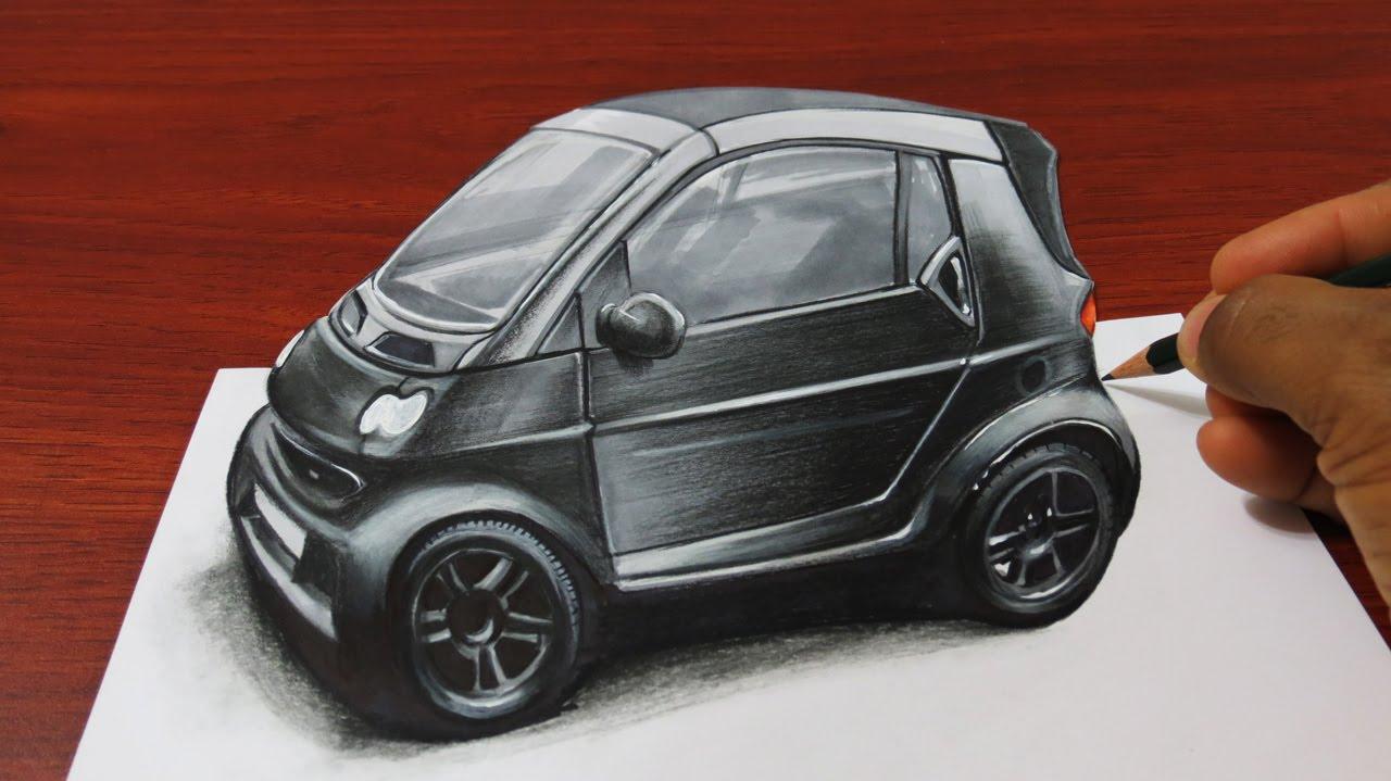 Drawn optical illusion smart How Car Anamorphic 3D
