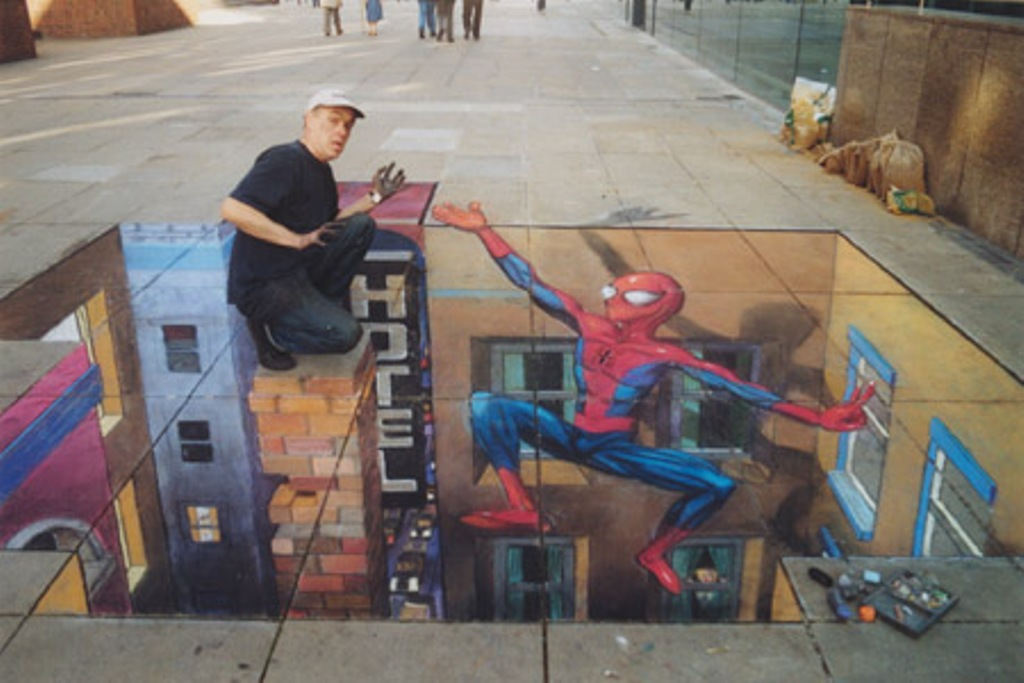 Drawn optical illusion spiderman Man Spider Optical to Spider