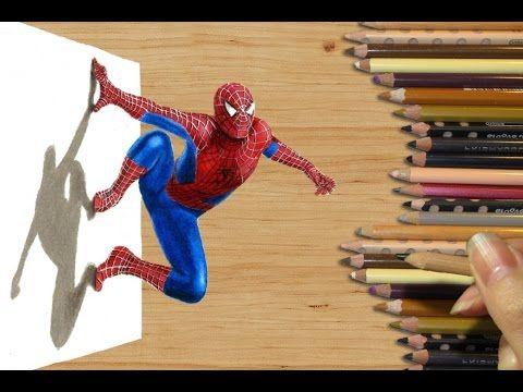 Drawn optical illusion spiderman Paper ideas New 3D draw