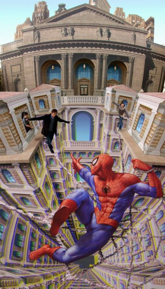 Drawn optical illusion spiderman Best Optical Art images 62