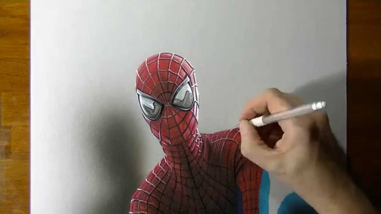 Drawn optical illusion spiderman Portrait 3D Drawing Amazing Man