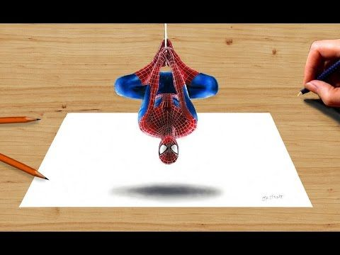 Drawn optical illusion spiderman Spider Pinterest 3D Drawing: images