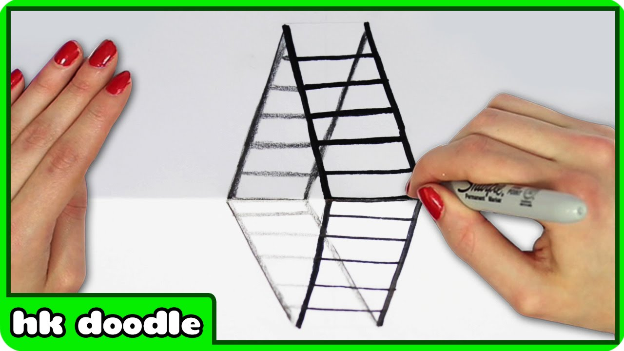 Drawn optical illusion step by step Draw 3D Ladder Tutorial Step