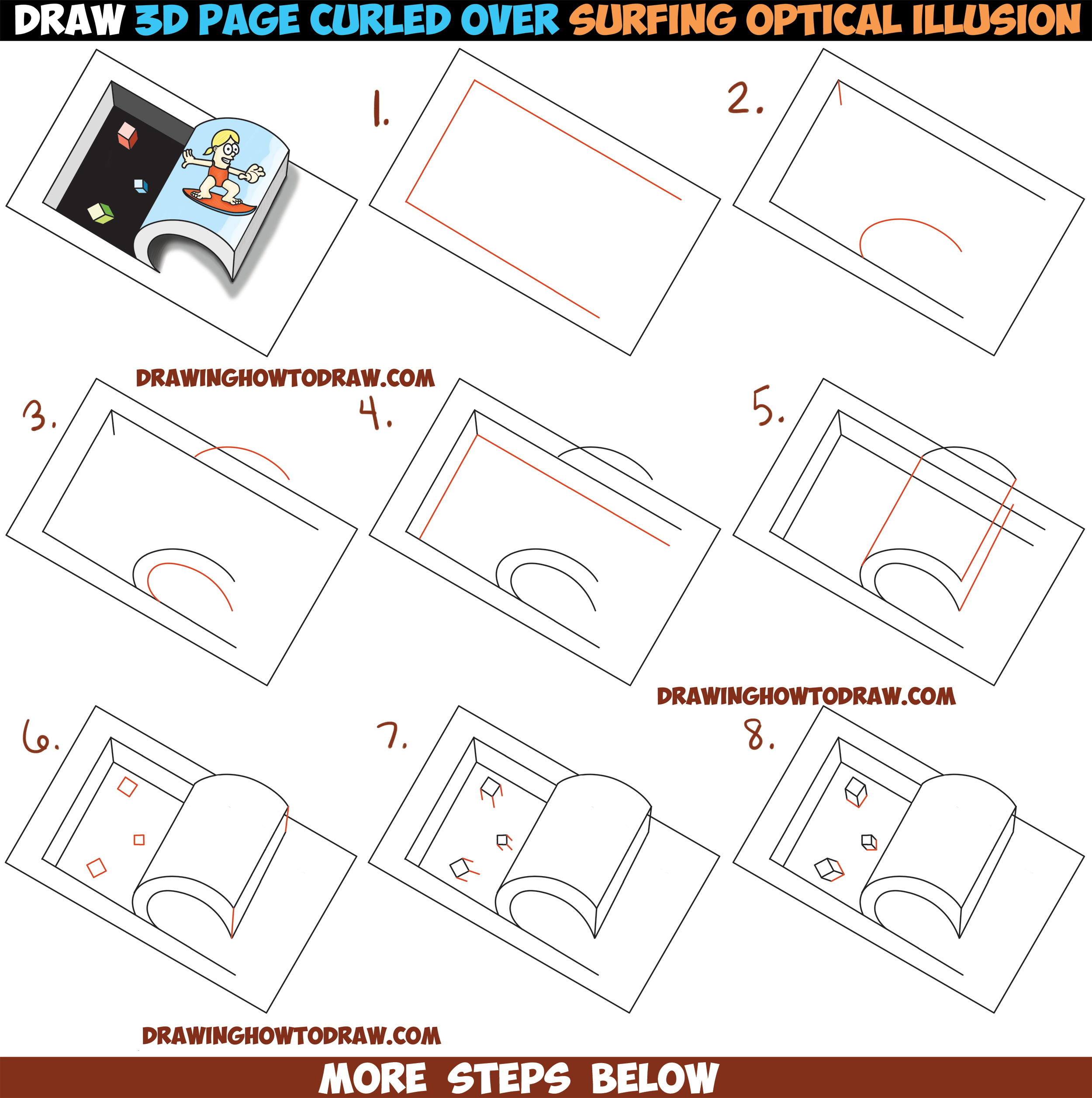 Drawn optical illusion step by step Up Like Draw Steps Simple