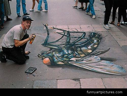 Drawn optical illusion street Illusions Fly street 3D street