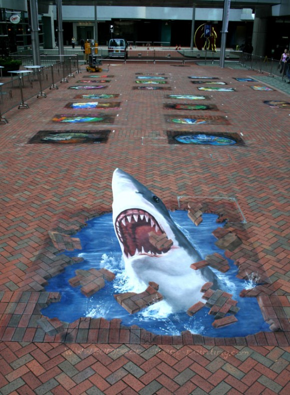 Drawn optical illusion street Art Illusion 3D illusions (Street