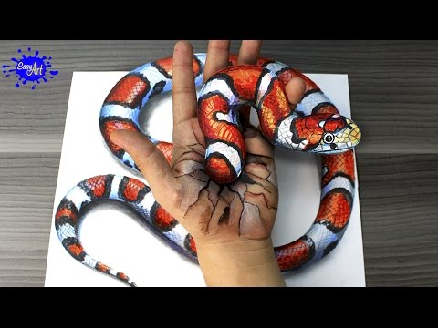 Drawn optical illusion street Rattlesnake Trick Cool Cool Art