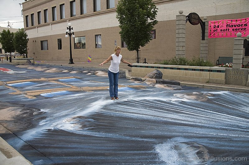 Drawn optical illusion street 3D Waterfall Chalk Chalk Pinterest