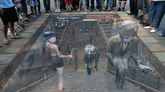 Drawn optical illusion street Subway Art Drawing Chalk DrawingsChalk