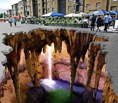 Drawn rock optical illusion Optical the Waterfall Under Waterfall