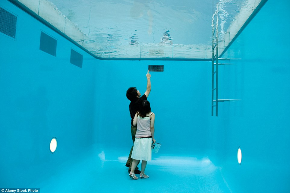 Drawn optical illusion swimming pool For Optical creates Erlich's You