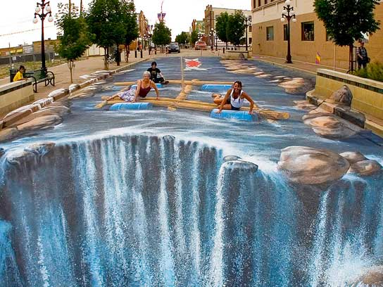 Drawn optical illusion swimming pool A The Reader's Expand (Turning
