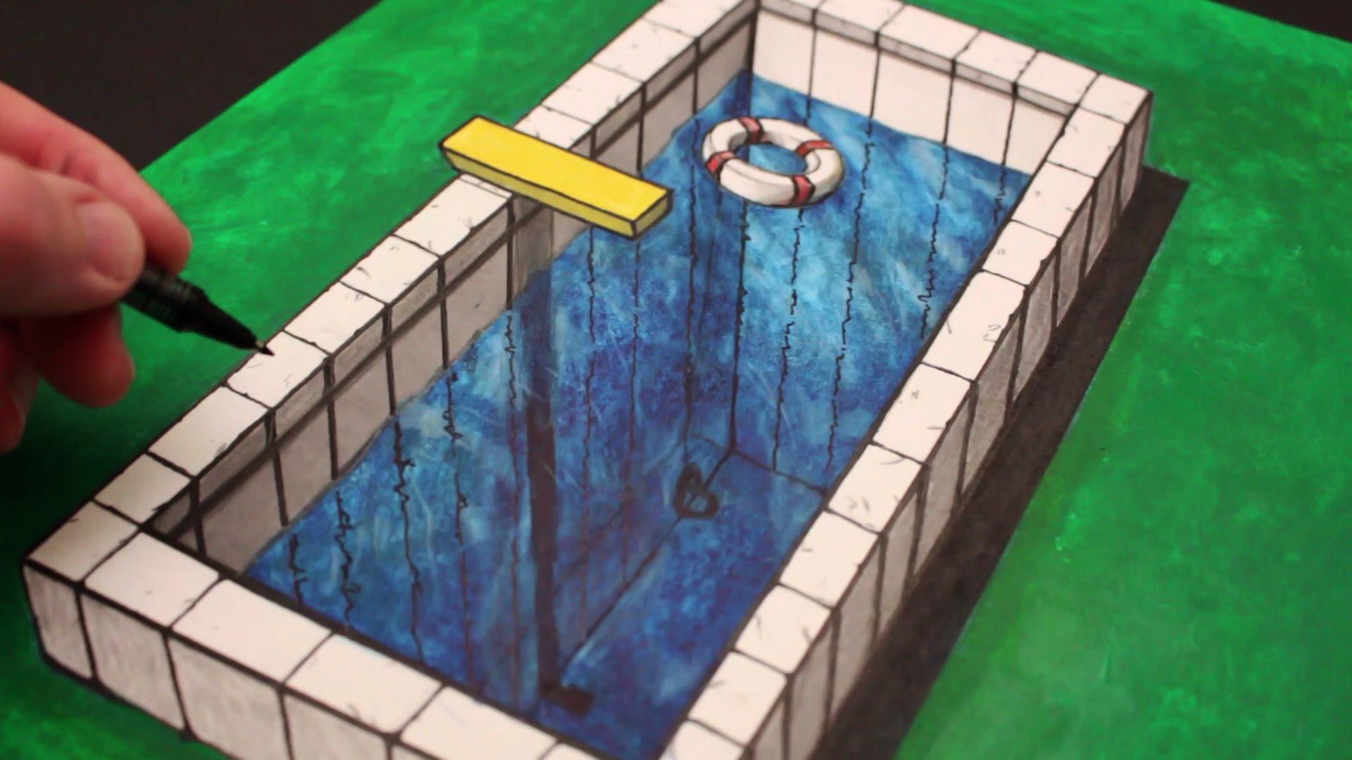 Drawn optical illusion swimming pool Anamorphic How Pool Draw a