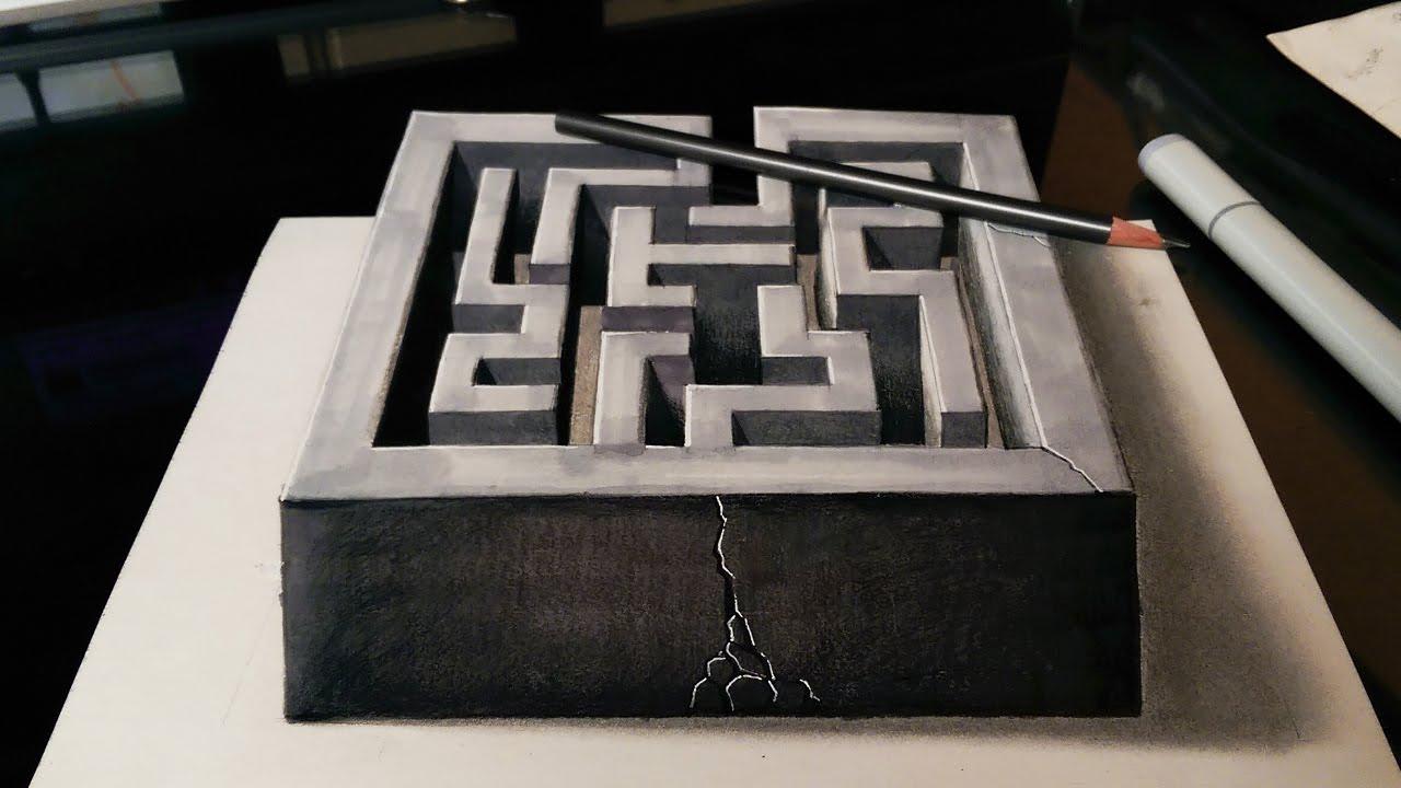 Drawn optical illusion the end  Optical Maze a 3D