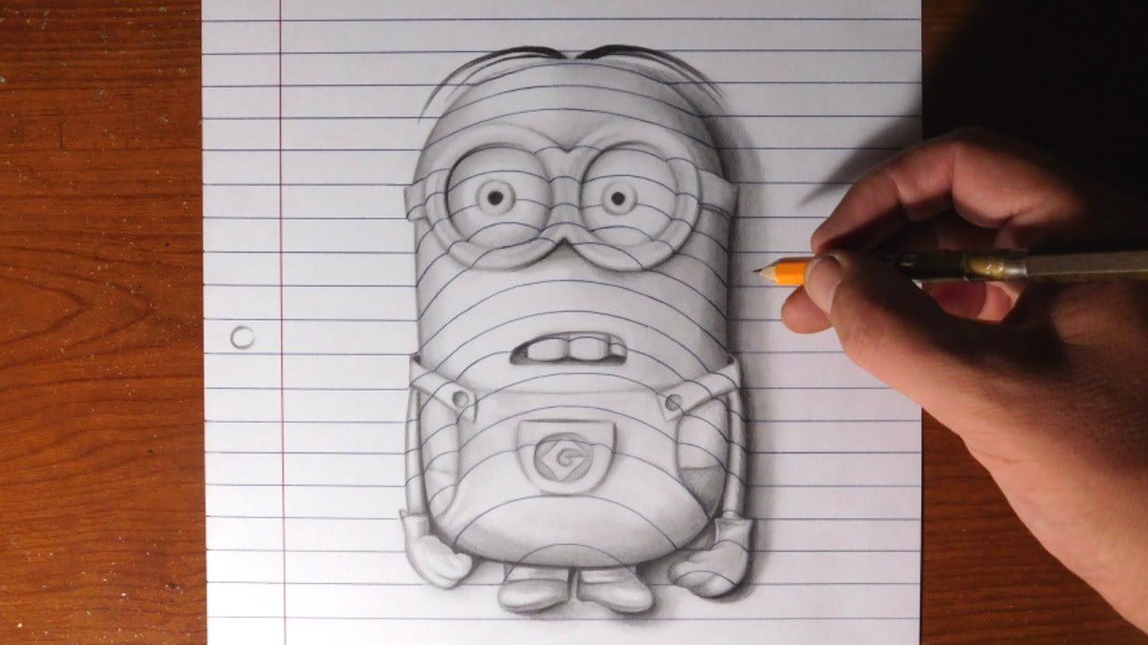 Drawn optical illusion torn paper Minion to How  a