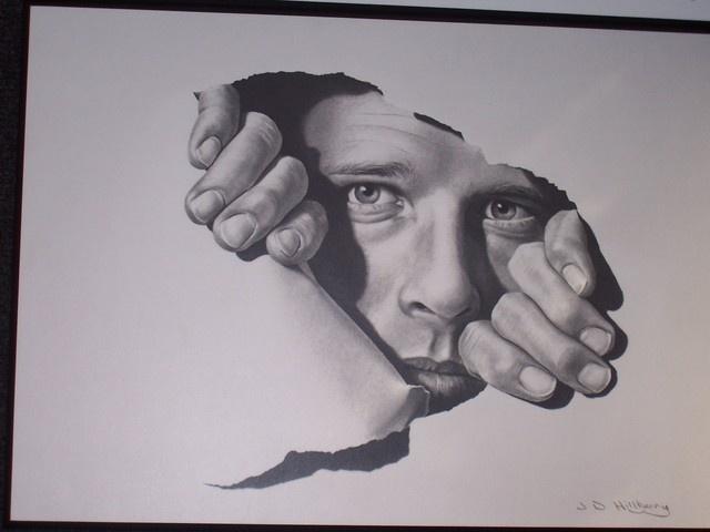 Drawn optical illusion torn paper Self (fool L'oeil on Trompe