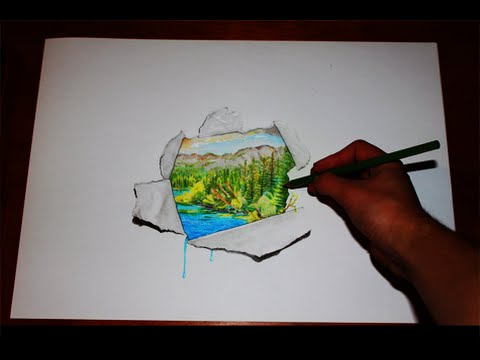Drawn 3d art ripped paper