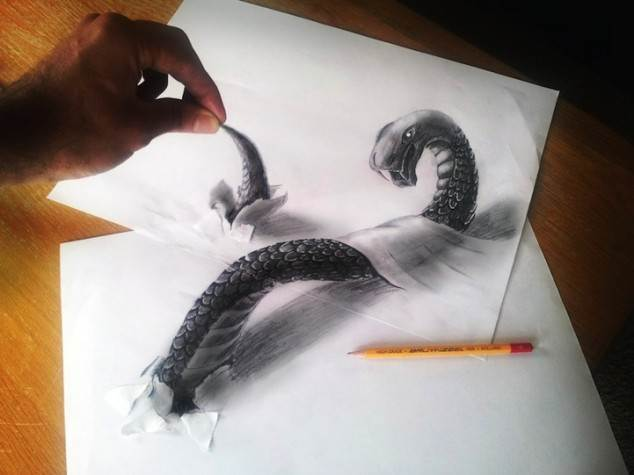 Drawn 3d art ripped paper Torn Three in Paper Illusion