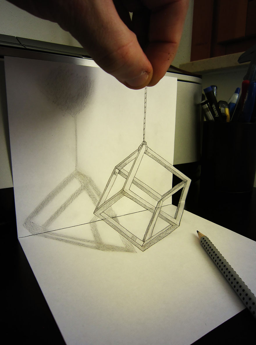 Drawn optical illusion unbelievable Drawings The 3d Pencil drawings