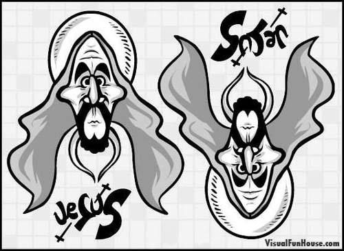 Drawn optical illusion visual illusion Illusion Jesus Satan Jesus Satan