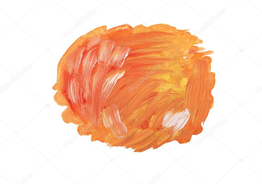 Drawn orange Drawn paint stain colorful Abstract