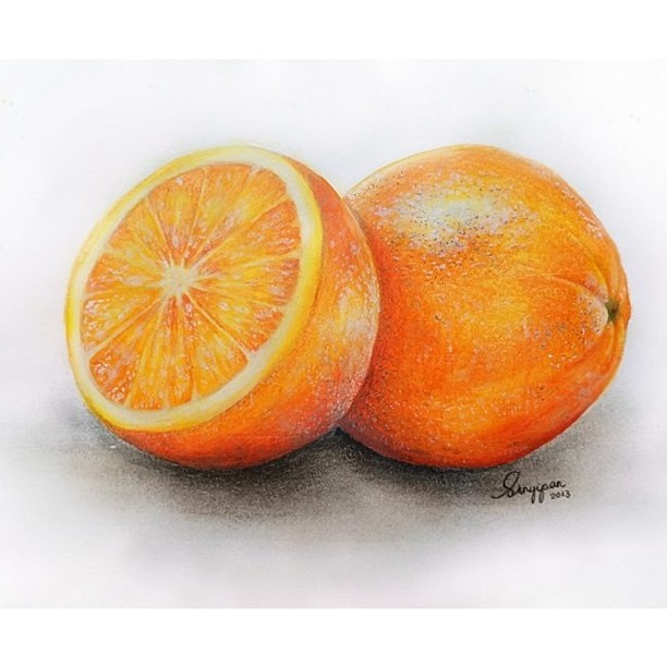 Drawn orange colouring Pancakees Crayon color fruit
