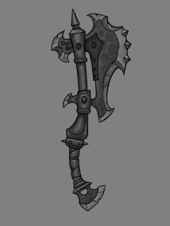 Drawn orc axe Clean  concept Final Axe