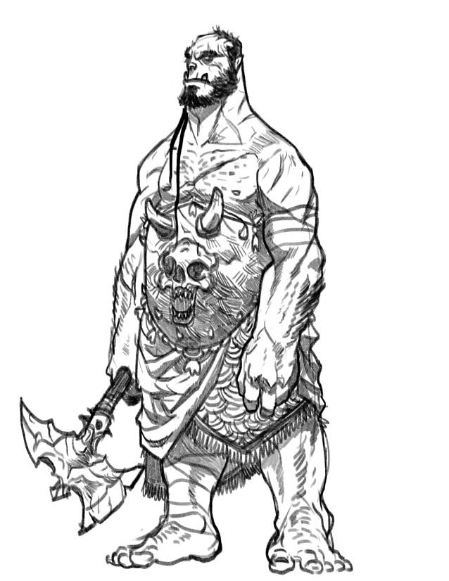 Drawn orc axe Regourso Orc by regourso warrior