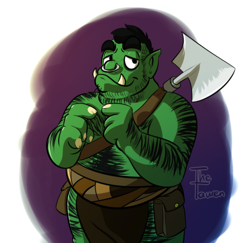 Drawn orc green Orcs on a while green