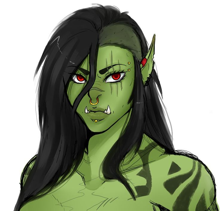 Drawn orc green Goblins and on Orcs on