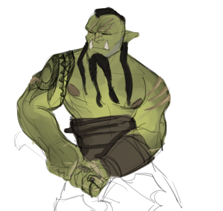 Drawn orc green An — an beefy I