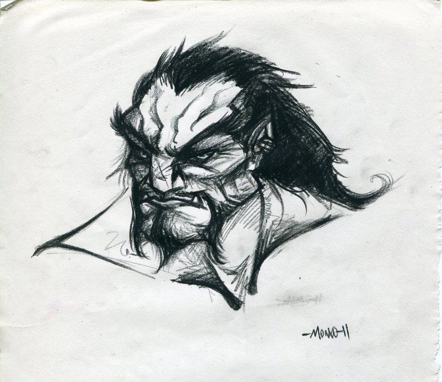 Drawn orc grey Sketch orc on sketch Gray
