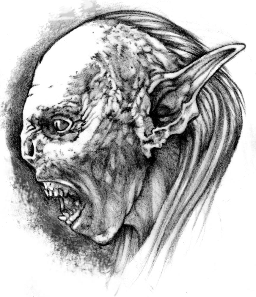 Drawn orc grey Black München Tattoo Tattoo Guest