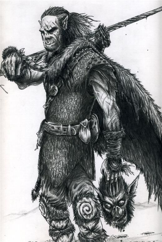 Drawn orc grey Written images grey and of
