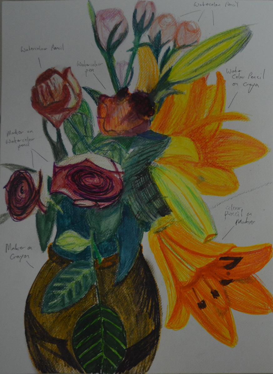 Drawn orchid pencil crayon Crayons Coloured Coloured – Pens