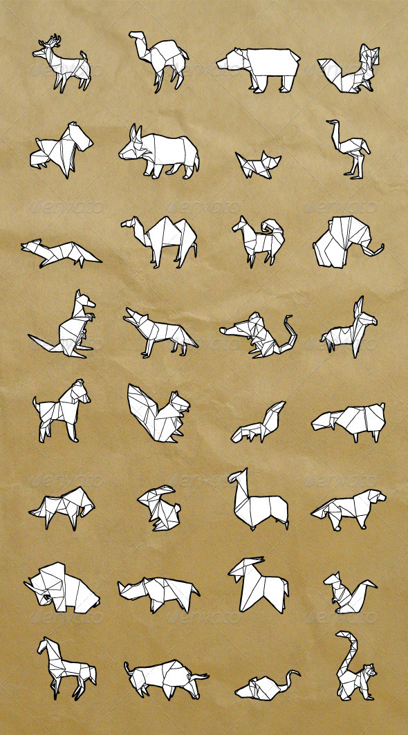 Drawn origami Hand Characters Drawn Animals Set