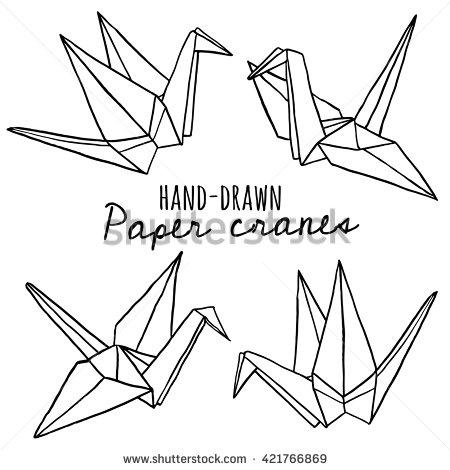 Drawn origami On Origami drawn Hand crane