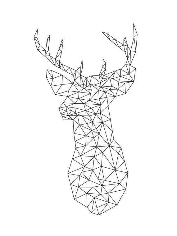 Drawn buck geometric Best Deer Nursery Geometric Nordic