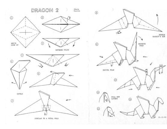 drawn origami donkey