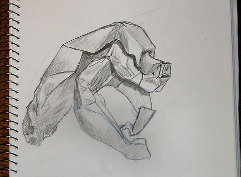 Drawn origami gorilla Drawing by Step the to