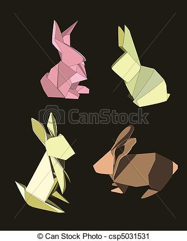 Drawn rabbid origami Origami of Set Clip Vector