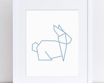 Drawn rabbit origami Etsy Origami Rabbit Animal Geometric