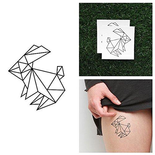 Drawn rabbid origami Hop of (Set Rabbit Tattoo