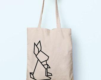 Drawn rabbid origami Tote Gym Shopping Cotton Drawing
