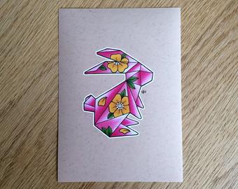 Drawn rabbid origami Hand Home // 7x5 Art