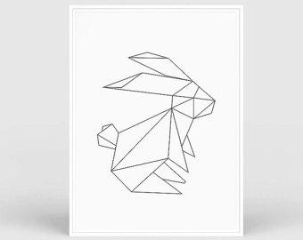 Drawn rabbid origami Woodland rabbit Origami rabbit origami