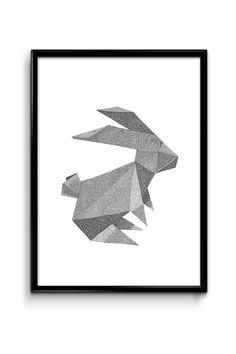 Drawn rabbit origami Ball drawn Rullande drawn from